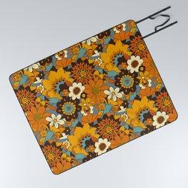 70s Retro Flower Power 60s floral Pattern Orange yellow Blue Picnic Blanket