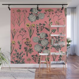 Drawing Flowers in Pink Wall Mural