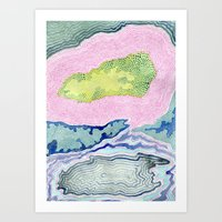 geode Art Prints featuring Geode by Kaley Dickinson