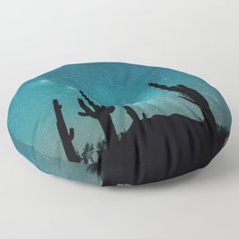 BLUE NIGHT SKY MILKY WAY AND DESERT CACTUS Floor Pillow