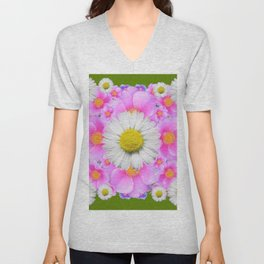 Avocado Color Shasta Daisies Rose Pattern Garden Unisex V-Neck