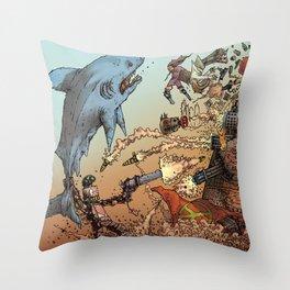 LOVE ME LIKE A PSYCHO ROBOT - USING A HUGE SHARK Throw Pillow