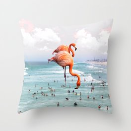 beaching around. Throw Pillow