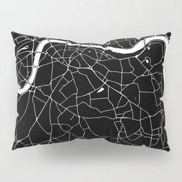 Black on White London Street Map II Pillow Sham