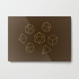 Outline of Dice in Gold + Brown Metal Print