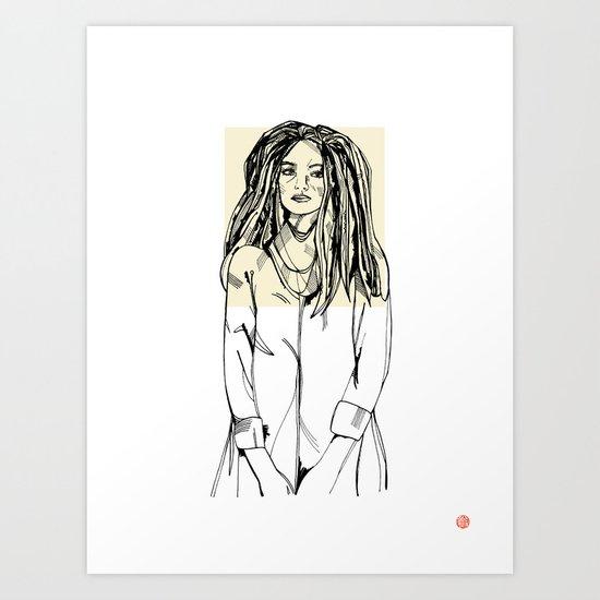 First Hello No.2 (tan) Art Print