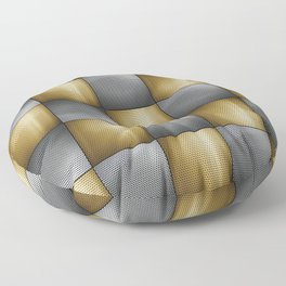 Gold Silver Metallic Perforated Metal Checkerboard Pattern Floor Pillow