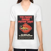 rocky horror V-neck T-shirts featuring Puggy Horror by Dark Lord Pug