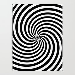 Black And White Op Art Spiral Poster