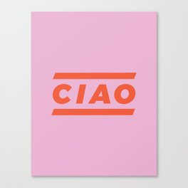 CIAO Italian Type Print - Pink & Red Canvas Print