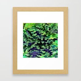 Foliage Abstract Camouflage In Forest Green and Black Framed Art Print
