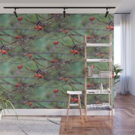 Small rosehips on bare branches Wall Mural