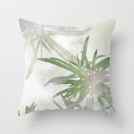 Olive Green Palm Leaves Watercolor Painting Throw Pillow