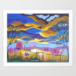 Pretty in Pink, Pink floral landscape, Abstract Landscape Art Print