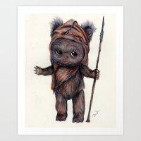 ewok Art Prints featuring Ewok Kewpie by Nicole Bonita Miller