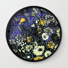 Mauve & Yellow Flower Woodcut Wall Clock