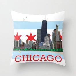 Chicago Gold Coast Skyline Illustration Chicago Flag Throw Pillow
