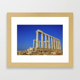 Temple of Poseidon in Sounion near Athens (Greece) Framed Art Print