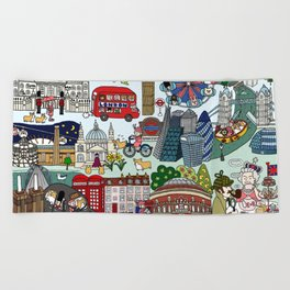 The Queen's London Day Out Beach Towel