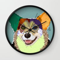 corgi Wall Clocks featuring Corgi by TiannaHarman