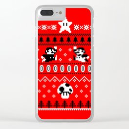 White Mario Christmas Clear iPhone Case