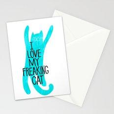i love my freaking cat - aqua Stationery Cards