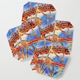 Fun on the roller coaster, close up Coaster
