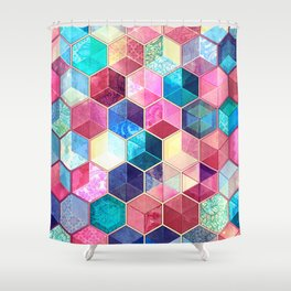 Topaz & Ruby Crystal Honeycomb Cubes Shower Curtain
