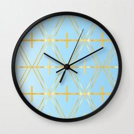 Golden Blue Fretwork Wall Clock