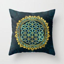 Flower of life gold an blue texture  glass Throw Pillow