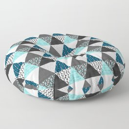 Triangle Quilt in Blue Floor Pillow