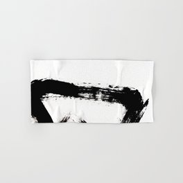 Brushstroke [8] - a simple, abstract, black and white india ink piece Hand & Bath Towel