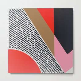 Pink Gold Red Abstract Metal Print