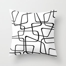 Mid Century Black And White Pattern Throw Pillow