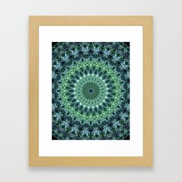 Cold blue and green mandala Framed Art Print