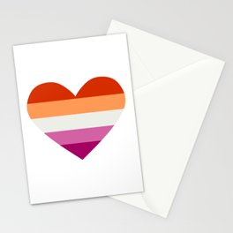 lesbian pride heart 2 Stationery Cards
