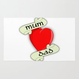 Mum and Dad Heart Rug