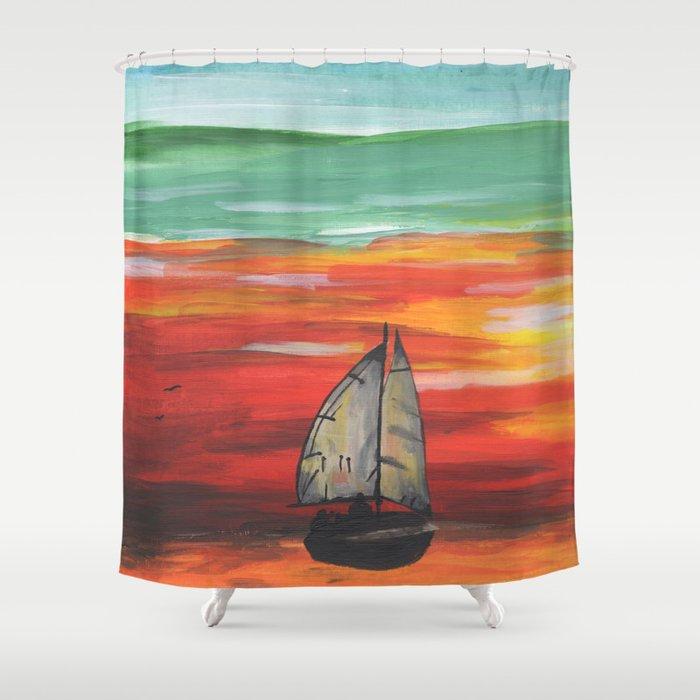 Sailboat at Sea During Sunrise Shower Curtain