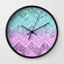 Mermaid Glitter Chevron #1 #shiny #decor #art #society6 Wall Clock