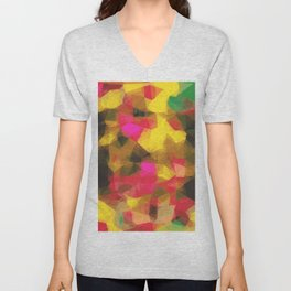 psychedelic geometric polygon shape pattern abstract in pink yellow green Unisex V-Neck