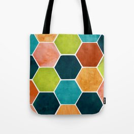 Colorful Terra Cotta - hexagon tile pattern Tote Bag