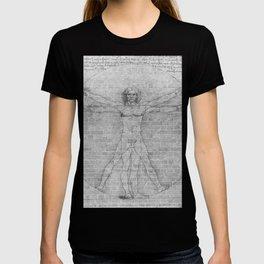 Brick Wall Painting Leonardo da Vinci Study of Vitruvian Man T-shirt