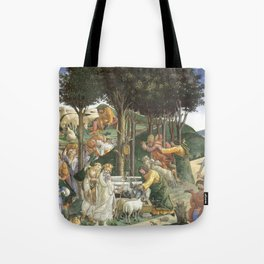 Trials of Moses Painting by Botticelli - Sistine Chapel Tote Bag