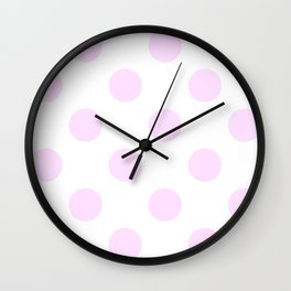 Large Polka Dots - Pastel Violet on White Wall Clock