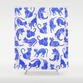 Cat Positions – Blue Palette Shower Curtain
