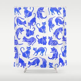 Cat Positions – Blue Palette Shower Curtain