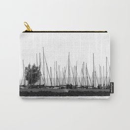 black and white sails in dock Carry-All Pouch