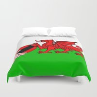 rugby Duvet Covers featuring Wales Rugby Flag by mailboxdisco