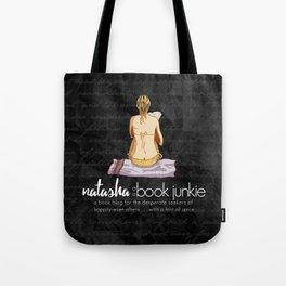 Natasha is a Book Junkie (logo) on script Tote Bag