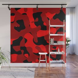 Black and Red Camo abstract Wall Mural